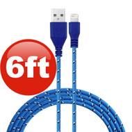 6 ft. Eco-Friendly Braided Nylon Fiber Lightning Connector to USB Charge and Sync Cable - Blue