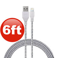 6 ft. Eco-Friendly Braided Nylon Fiber Lightning Connector to USB Charge and Sync Cable - White