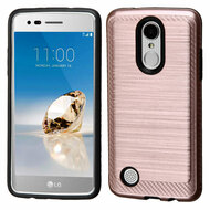 Brushed Multi-Layer Hybrid Armor Case for LG Aristo / Fortune / K8 2017 / Phoenix 3 - Rose Gold