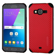 Rugged Weave Multi-Layer Hybrid Case for Samsung Galaxy Amp Prime / Express Prime / J3 / Sol - Red