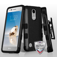 Military Grade Certified TUFF Hybrid Armor Case with Holster for LG Aristo / Fortune / K8 2017 / Phoenix 3 - Black