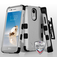 *SALE* Military Grade Certified TUFF Hybrid Armor Case with Holster for LG Aristo / Fortune / K8 2017 / Phoenix 3 - Grey