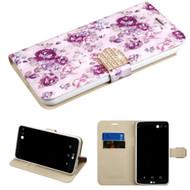 Luxury Bling Portfolio Leather Wallet Case for LG Stylo 3 / Stylo 3 Plus - Fresh Purple Flowers