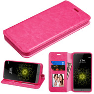 Book-Style Leather Folio Case for LG G6 - Hot Pink