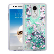 Quicksand Glitter Transparent Case for LG Aristo / Fortune / K8 2017 / Phoenix 3 - Green