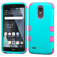 *SALE* Military Grade Certified TUFF Hybrid Armor Case for LG Stylo 3 / Stylo 3 Plus - Teal Green Hot Pink