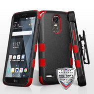 Military Grade Certified TUFF Hybrid Armor Case with Holster for LG Stylo 3 / Stylo 3 Plus - Black Red