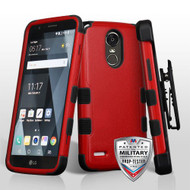 Military Grade Certified TUFF Hybrid Armor Case with Holster for LG Stylo 3 / Stylo 3 Plus - Red