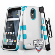 Military Grade Certified TUFF Hybrid Armor Case with Holster for LG Stylo 3 / Stylo 3 Plus - White Teal
