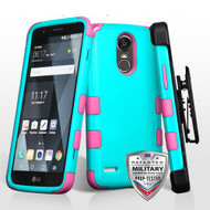 *SALE* Military Grade Certified TUFF Hybrid Armor Case with Holster for LG Stylo 3 / Stylo 3 Plus - Teal Green Hot Pink