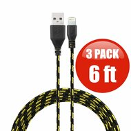 *SALE* 6 ft. Eco-Friendly Braided Nylon Fiber Lightning Connector to USB Charge and Sync Cable - 3 Pack Black