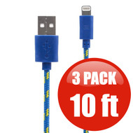 *SALE* 10 ft. Eco-Friendly Braided Nylon Fiber Lightning Connector to USB Charge and Sync Cable - 3 Pack Blue