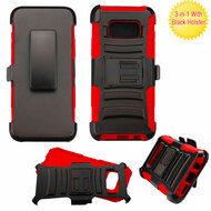Advanced Armor Hybrid Kickstand Case with Holster for Samsung Galaxy S8 - Black Red
