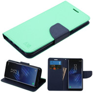 Diary Leather Wallet Case for Samsung Galaxy S8 - Teal Green