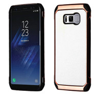 Electroplated Tough Hybrid Case with Leather Backing for Samsung Galaxy S8 Plus - White