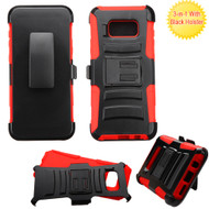 Advanced Armor Hybrid Kickstand Case with Holster for Samsung Galaxy S8 Plus - Black Red
