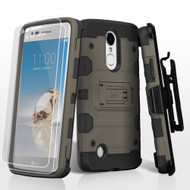 Military Grade Storm Tank Case + Holster + Screen Protector for LG Aristo / Fortune / K8 2017 / Phoenix 3 - Grey