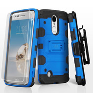Military Grade Storm Tank Hybrid Case + Holster + Screen Protector for LG Aristo / Fortune / K8 2017 / Phoenix 3 - Blue