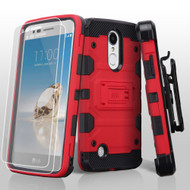 Military Grade Storm Tank Hybrid Case + Holster + Screen Protector for LG Aristo / Fortune / K8 2017 / Phoenix 3 - Red