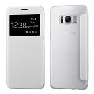 Book-Style Hybrid Flip Case with Window Display for Samsung Galaxy S8 Plus - White