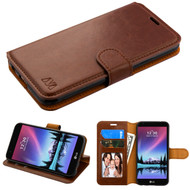 Book-Style Leather Folio Case for LG K20 Plus / K20 V / K10 (2017) / Harmony - Brown