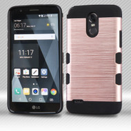 Military Grade Certified TUFF Trooper Dual Layer Hybrid Armor Case for LG Stylo 3 / Stylo 3 Plus - Rose Gold