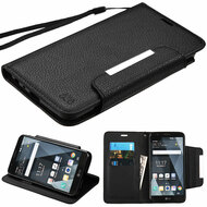 Designer Leather Wallet Shell Case for LG Stylo 3 / Stylo 3 Plus - Black