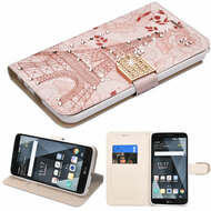 Luxury Bling Portfolio Leather Wallet Case for LG Stylo 3 / Stylo 3 Plus - Eiffel Tower