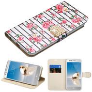 Luxury Bling Portfolio Leather Wallet Case for LG Stylo 3 / Stylo 3 Plus - Pink Fresh Roses
