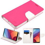 Diary Leather Wallet Case for LG G6 - Hot Pink