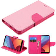 Diary Leather Wallet Case for LG G6 - Pink