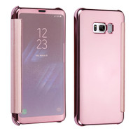 Electroplating Book-Style Case with Semi-Transparent Flip Cover for Samsung Galaxy S8 Plus - Rose Gold