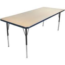 Advantage 30 in. x 72 in. Rectangular Adjustable Activity Table - Maple/Navy [AT3072-MN]
