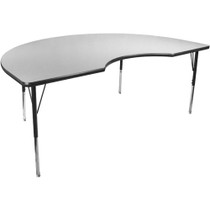 Advantage 48 in. x 72 in. Kidney-shape Adjustable Activity Table - Grey/Black [AT4872KID-GB]