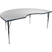 Advantage 48 in. x 72 in. Kidney-shape Adjustable Activity Table - Grey/Navy [AT4872KID-GN]