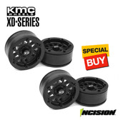 Incision IRC00250 KMC 1.9 XD229 Black Plastic Beadlock Wheel Set Front / Rear (4)
