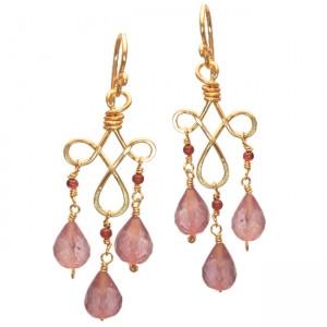 Amethyst Dangle Earrings, Exotic