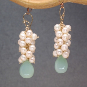 Pearl and Gemstone Earrings, Customizable Dangles