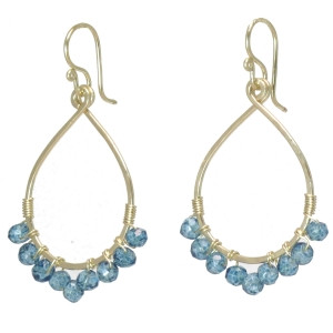 Custom Gemstone Earrings -  Blue Topaz