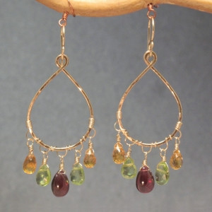Multi-Colored Gemstone Dangle Earrings