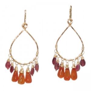 Garnet Dangle Drop Earrings