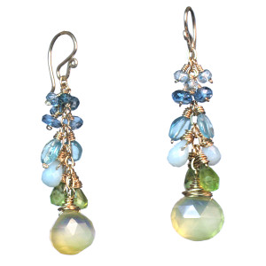 Aqua and Teal Gem Teardrop Earrings