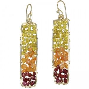 Garnet Dangle Earrings Geometric Style