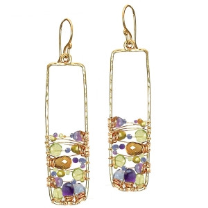 Multi Colored Stone Drop Earrings