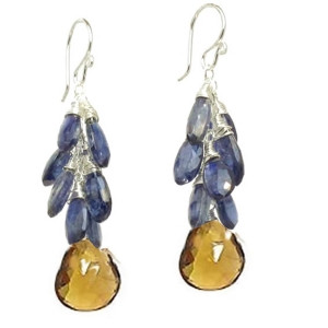 Orange Crystal Earrings with Blue Aquamarine