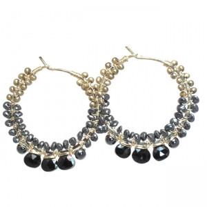 Black Gemstone Earrings With Bronze Pearls