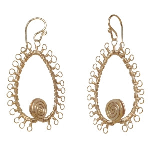 Gold Filigree Earrings With Swirls