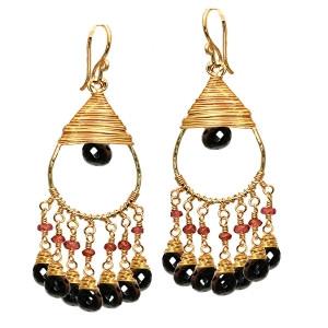 Black Gemstone Drop Earrings with Pink Rubies