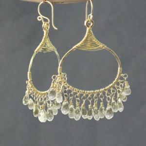 Aquamarine Chandelier Earrings in Gold or Silver