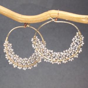 Custom Pearl Drop Earrings in Round Dangles in Ivory